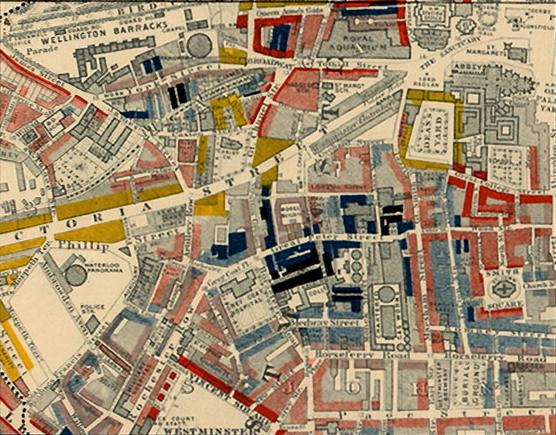 "Booth's map of  1889 tells it all. The Aquarium in the top right was opposite Westminster Abbey. The House of Commons is just out of the picture. Booth's colours show how threatened the yellows and reds were from the loafers.  Yellow (""Upper-middle and Upper classes, Wealthy""), red (""Lower middle class – Well-to-do middle class""), pink (""Fairly comfortable good ordinary earnings""), blue (""Intermittent or casual earnings""), and black (""lowest class...occasional labourers, street sellers, loafers, criminals and semi-criminals"""