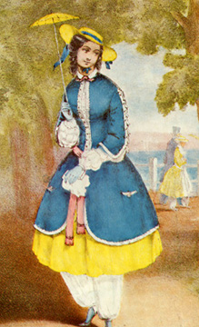 The bloomer costume craze of 1851... what next? They will want the vote and larger parasols!