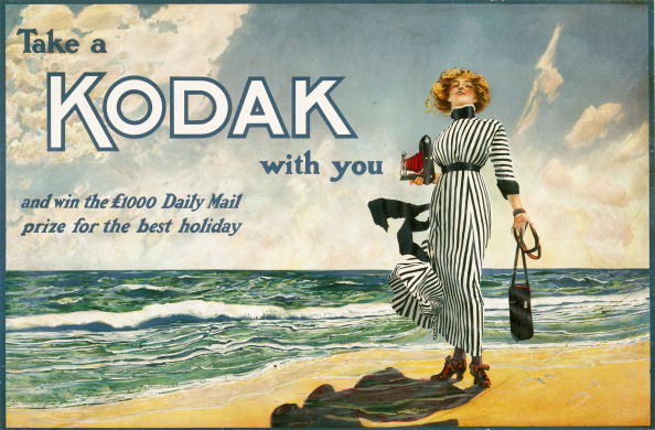 Take a Kodak with you, advertisement for Kodak cameras, British, c 1910.