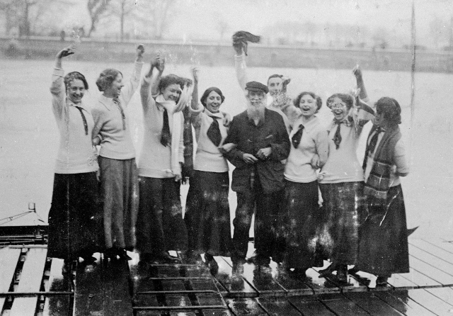 Furnivall on the landing stage with his shipmates