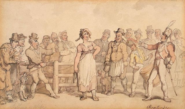 a wife -Rowlandson,_Thomas_-_Selling_a_Wife_-_1812-14